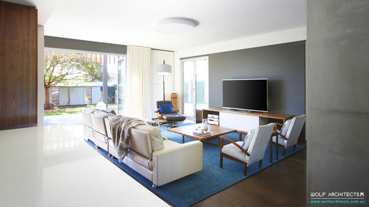 modern open to garden living space