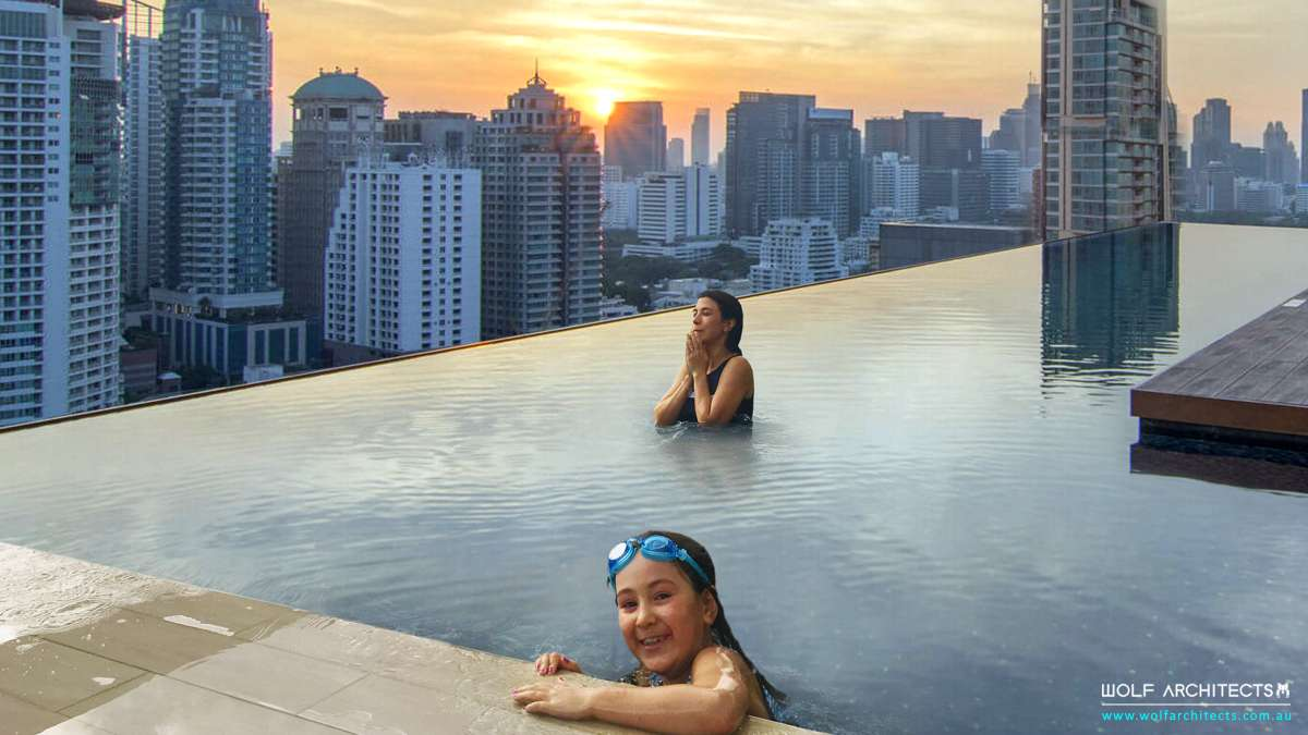 apartment roof top pool with infinity edge