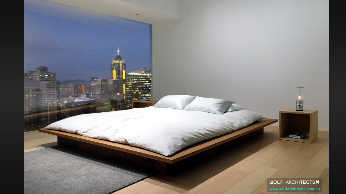 Minimalist contemporary modern bed and bedroom
